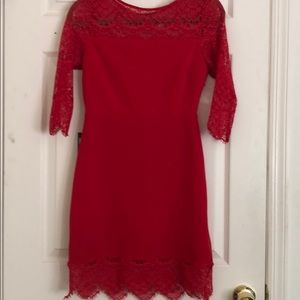 Express Red Lace Detail Dress